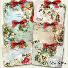 """Etiquettes Noël rétro """"Joyeux Noël"""" x 6 : Emballages cadeaux par alice-office"""