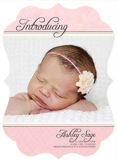 ON SALE 0588 LUXE Baby Birth Announcement Photoshop Psd Photo Card Template for Photographers - Girl Vol 2, 1 of 3 - Millers, Whcc or Mpix. $2.70, via Etsy.