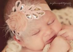 Light Pink Sparkle Couture Flower Headband