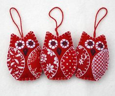 Owl felt Christmas ornaments, Red and white Holiday decorations, Bird Christmas ornaments – christmas decorations Bird Christmas Ornaments, Felt Christmas Decorations, Christmas Owls, Christmas Sewing, White Christmas, Christmas Nativity, Fabric Ornaments, Handmade Ornaments, Handmade Felt