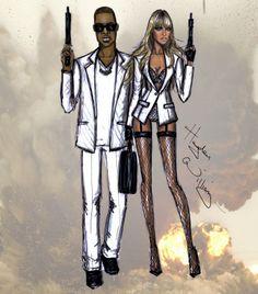 Hayden Williams Fashion Illustrations: JxB 'On The Run' by Hayden Williams