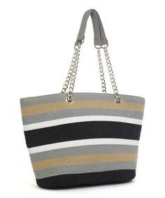 Loving this Black Stripe Chain Tote on #zulily! #zulilyfinds