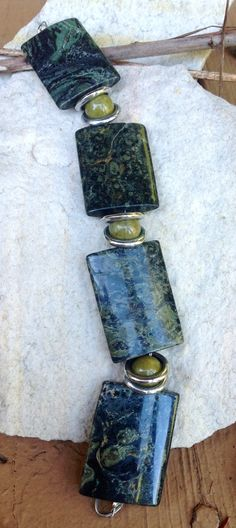 Jasper and green opal bracelet