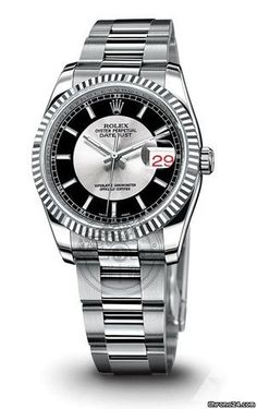 Rolex Oyster Perpetual Datejust Automatic Steel and White Gold Silver and Black Watch - 116234