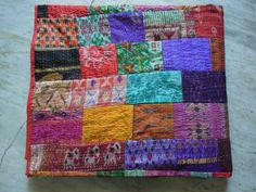 Vintage Indian Quilt -Old Patola Silk Sari Kantha Quilted Patchwork Bedspreads,Throws,Ralli,Gudari Handmade Bedding on Etsy, $99.00