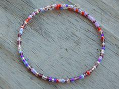 Purple  Berry Beaded Memory Wire Bracelet