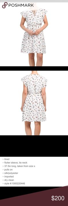 💕THE KOOPLES FEATHERS ON SILK DRESS💕 'Tis the season for flowy Spring dresses!!! 🤗  Dress this up or down for work or play!!  💕  Color is Ecru with colorful feathers!!   * Smoke free home! * Let's discuss the price!  😊 The Kooples Dresses