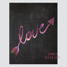 Purple Arrow Love Black and White Print by BannerDesignShop