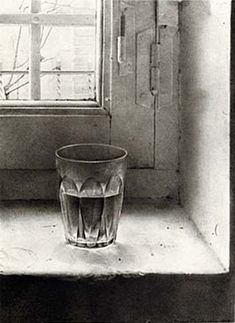 still life drawing of clear glass of water on old window sill, pencil drawing- Antonio Lopez Garcia Eloy Morales, Fairfield Porter, Still Life Drawing, Types Of Painting, My Glass, Clear Glass, Line Drawing, Drawing Board, New Art