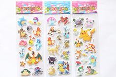 3 Sheets/set cartoon anime Pikachu stickers for kids rooms Home decor Diary Notebook Label Decoration toy  Pikachu 3D sticker