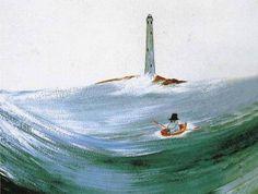 Tove Jansson - Moominpappa at Sea postcard via Kiosk Mamymuminka (Moomin PL) Tove Jansson, Les Moomins, Moomin Valley, Children's Book Illustration, Fanart, Lighthouse, Troll, Louvre, Drawings