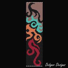 Flames Beaded Peyote Bracelet Cuff Pattern by FUNPATTERNDESIGNS