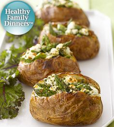 Baked potatoes and asparagus join forces in this delightful recipe that can be served as a main dish or the perfect accompaniment to your favorite meat.