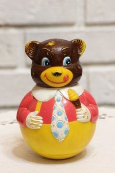 Vintage Baby Toy Chiming Roly Poly Bear Vintage Toy