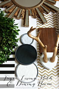 Inspired by black, gray, gold & white. Paint colors from Benjamin Moore for our living, dining, foyer & baths. Moonshine, Black & Classic white