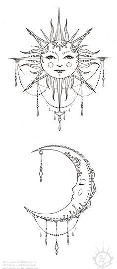 Bohemian Sun and Moon, tattoo design (inked)