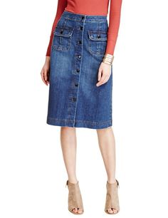 Button Front Denim A-Line Skirt | M&S