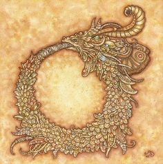 Ouroboros Print by AutumnAlchemy on Etsy Snake Dragon, Religion, A Discovery Of Witches, Wildlife Art, Illustrations, Graphic Illustration, Collage Art, I Tattoo, Tatting