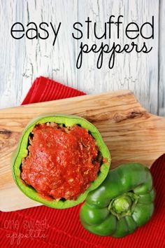 Easy Stuffed Peppers (sub hot sauce or nothing for worcestershire sauce)