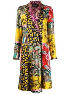 Shop online yellow Etro patchwork coat as well as new season, new arrivals daily. Phenomenal luxury selection, get it now with quick Global Shipping or Click & Collect orders. Fashion Art, Fashion Design, Fashion Trends, Textiles, Mixing Prints, Bold Prints, Looks Vintage, Bohemian Style, Bohemian Fashion