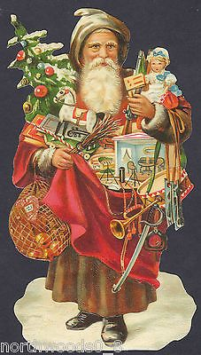 CHRISTMAS BAG TREE SANTA TOYS OLDWORLD DOLL ART EMBOSSED GERMAN PAPER SCRAP CARD