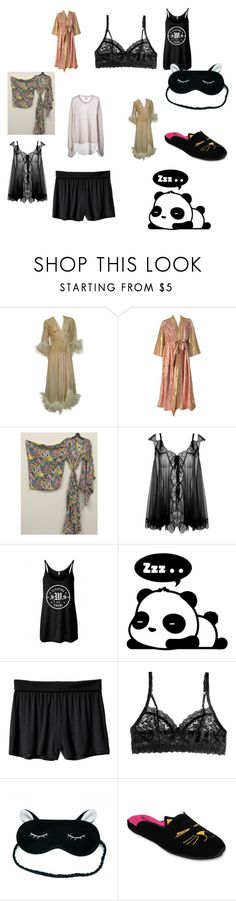 """""""sleep please"""" by elena-09 ❤ liked on Polyvore featuring Agent Provocateur, Hanky Panky, Patricia Green and One Teaspoon"""