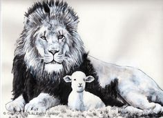 Artbykonnie Painting Lion And The Lamb
