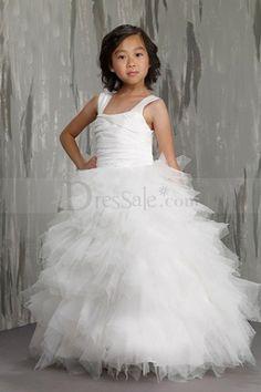 Dazzling Square Neckline Organza Flower Girl Dress