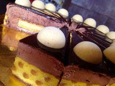 Fondo croccante ( frollino al caramello e cioccolato al latte ) biscotto decorato, inserto biscotto decorato , cremoso nocciola,mousse cioccolato 55% glassa valhorna, decorazione semisfere cremoso nocciola