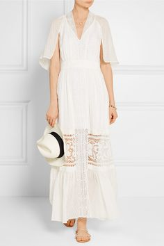 TEMPERLEY LONDON Holzer lace-paneled fil coupé silk-voile maxi dress // Ivory fil coupé silk-voile and lace Concealed zip fastening along side silk; Ivoire, V Neck Dress, Autumn Fashion, Runway, Cold Shoulder Dress, White Dress, Temperley, Long Dresses, How To Wear