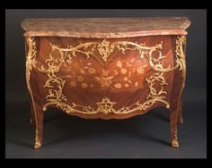 """French 19th century Louis XV two drawer commode with bronze d'ore mounts and contoured breche d'Alep marble top, signed """"Krieger"""" Circa 1880.Go French Antiques in New Orleans, LA.  I Looooooove This! Krieger is the last name of my aunt and uncle. Cool."""