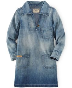 Ralph Lauren Little Girls' Denim Pullover Dress