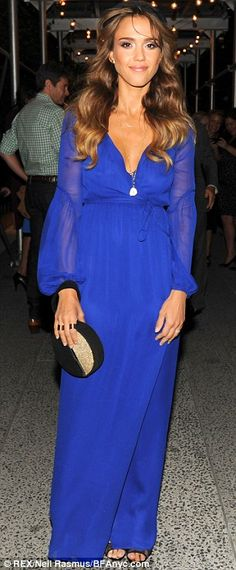 Ethereal: The actress-turned-entrepreneur was a breath of fresh air in her cobalt-blue gown ,,,Jessica Albla