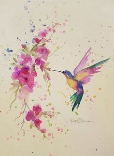 Kolibri mit Blumen – Zeichnen/Malen, Tattoos… – Hummingbird with flowers – drawing / painting, tattoos … – draw, to paint Watercolor Hummingbird, Hummingbird Art, Watercolor Bird, Watercolor Artists, Watercolor Paintings, Painting Art, Hummingbird Illustration, Dandelion Painting, Watercolor Projects