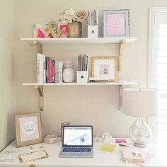 Decor, Inspiration, Home Office Home Office Space, Home Office Design, Home Office Decor, Teen Room Decor, Diy Room Decor, Bedroom Decor, Work Desk Decor, Floating Shelf Decor, Desk Inspiration