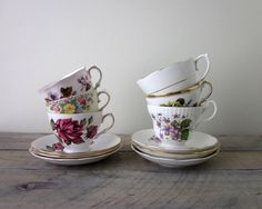 Vintage Mismatched China Teacups and Saucers Set of by 22BayRoad