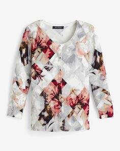 """Florals, blurred and pixelated, infuse an abstract beauty into this soft sweater. Stylist Note: Just wait until you see this sweater over a black sheath dress—it will be love at first sight.  Three quarter-sleeve floral cardigan  Rayon/nylon. Hand wash.   Approx. 21.5"""" from shoulder  Imported"""