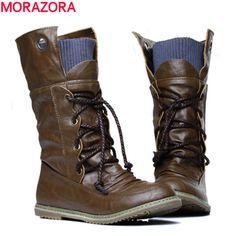 c1ce7214d82d 17.02 50% de réduction|MORAZORA 2018 nouvelle mode moto bottines pour femmes  automne hiver mode femmes bottes pu cuir chaussures grande taille 34 43  dans ...