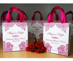 30 Mehndi Night gift bags with Pink satin ribbon & your names Personalized Mayoon Night gift bags for guests Indian Wedding gifts and favors