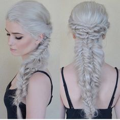 Snow White Hair with intricate messy braids by Brittany Gonzalez Platinum Blonde White blonde Game of Thrones Romantic Hairstyles fb.com/hotbeautymagazine Silver White Hair
