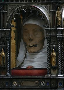 The incorrupt head of Saint Catherine of Siena, patroness of Italy and Doctor of the Church