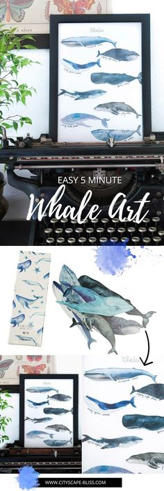Easy 5 minute whale art for less than £1 Cityscape Bliss // Creative Home DIY