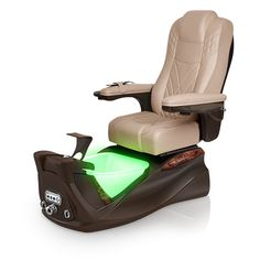 Infinity pedi-spa shown in Acorn Ultraleather cushion, Mocha base, Aurora LED Color-Changing bowl (shown in green)