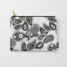 Paisley Carry-All pouch available in various sizes featuring my spiral art paisley pattern. Spiral Art, Pouch, Wallet, Paisley Pattern, Carry On, Patterns, Stuff To Buy, Shopping, Block Prints