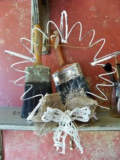 Love it!  Could be made out of an sprung slinky!  Rusty recycled bed spring wreath hand painted by AnitaSperoDesign, $35.00