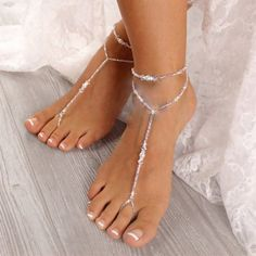 Foot Jewelry Wedding, Beaded Foot Jewelry, Bridal Jewelry Sets, Beach Jewelry, Wedding Shoes, Fine Jewelry, Jewellery, Silver Anklets, Bare Foot Sandals