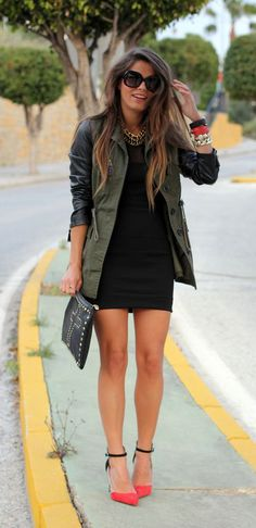 Army green + Coral