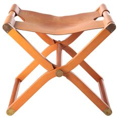 "Hermes ""Pippa"" Leather Campaign Stool"