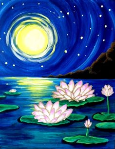 Moonlit Lotus - Pinot's Palette Painting Is there anything more meditative than looking at the moon and the glowing lotus flowers in the middle of a pond? Easy Canvas Painting, Simple Acrylic Paintings, Watercolor Paintings, Canvas Art, Lotus Flower Art, Lotus Art, Lotus Flower Paintings, Lotus Painting, Spring Painting