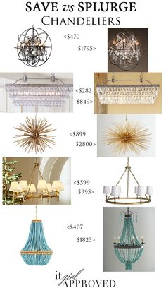 Save big and get the look for less on these gorgeous chandelier trends for your home!   || Restoration Hardware || Wayfair || Target || Pottery Barn || ZGallerie || Horchow || Overstock || Williams-Sonoma Home ||